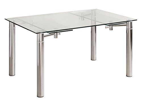 Mesa de Comedor CALVIA de Cristal Templado y Extensible 140x90 cm