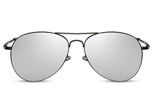 Cheapass Piloten-Sonnenbrille Silber-n Verspiegelt UV-400 Top-Gun Flieger-Brille Metall-Rahmen Damen Herren