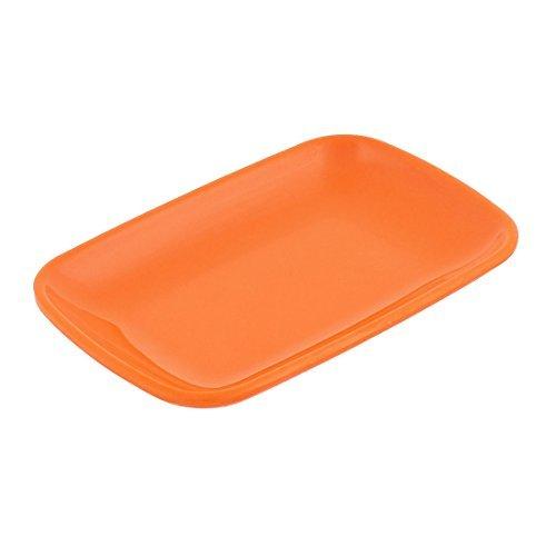 Dealmux Plastique rectangle Forme Dessert gâteau Apéritif Assiette Orange