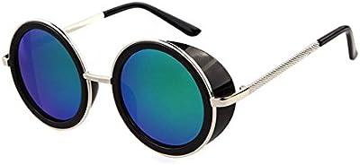 Classic Steampunk Inspirado en estilo vintage 50s redonda de plata y negro marco lente verde gafas Blinder gafas de sol círculo