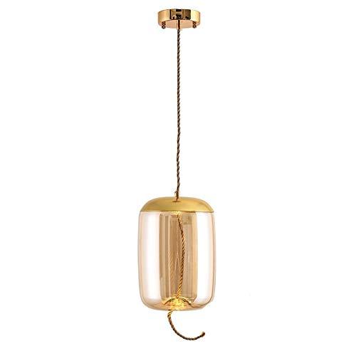 Bernstein Glas-modell (HJXDtech Modell-XJGA Eisen und Glas Hängelampe Beleuchtungskörper Pendelleuchte Kreativer Einfacher Kronleuchter mit LED-Lichtquelle (Bernstein))