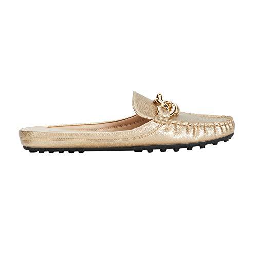 Parfois - Zapatos Tacón Bajo Gold Mocassin - Mujeres