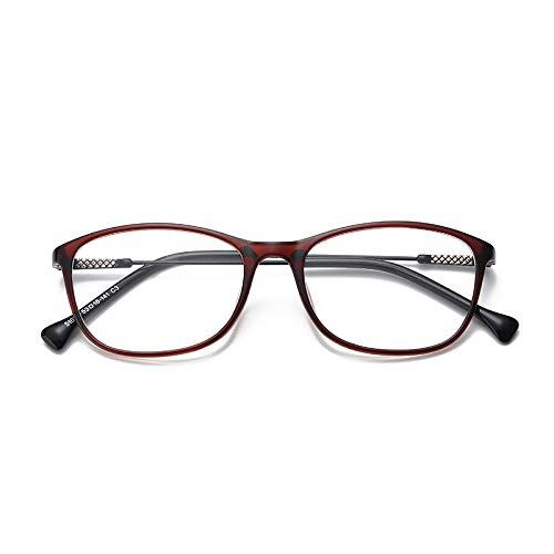 YMTP Quadratische Spectacle Frames Für Frauen Männer Brillen Mit Transparenten Gläsern Kunststoff Titan Clear Gläser Für Myopie, Tee