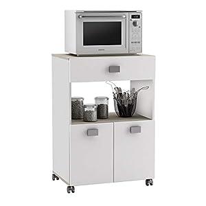 Küchenwagen 145 AKAZIE WEISS Küchentrolley Rollen Schublade Küchenschrank Küchenhelfer Arbeitsplatte Holz