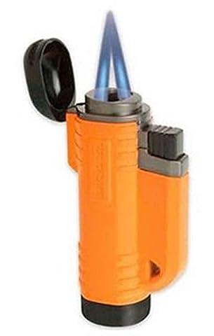 Turboflame V Flame Twin Laser Jet Wind Resistant Refillable Orange Delta Lighter