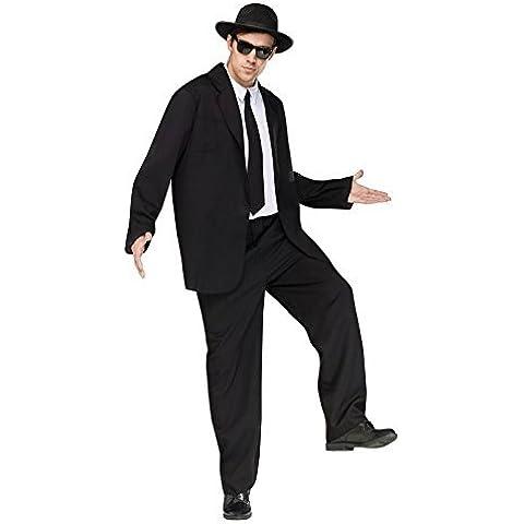 Para hombre Negro Gangster Blues Brothers traje de mecedora interactiva para dispositivos móviles Fancy disfraz infantil de atuendo e instrucciones para hacer vestidos