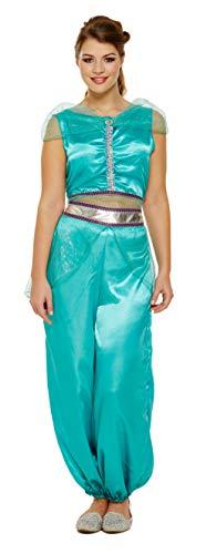 Lady Kostüm Genie - Emmas Garderobe Arabische Prinzessin Kostüm Enthält Blaue Hose, Blaue Shorts und Blue Top mit Gem - arabisches Kostüm oder Genie Kostüm für Halloween - UK Größen 6-12 (Women: 34, Blue)