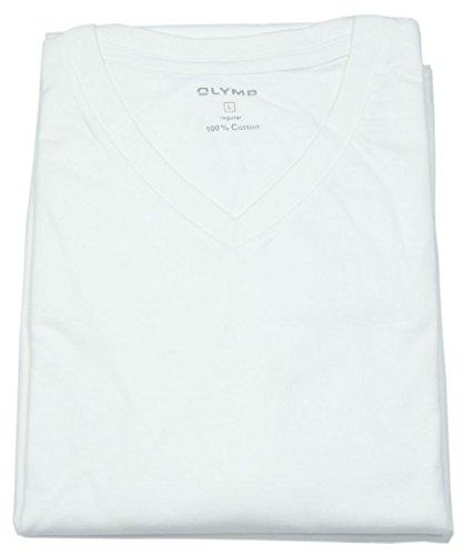 OLYMP Herren T-Shirt Doppelpack V-Ausschnitt- Weiß, XL -