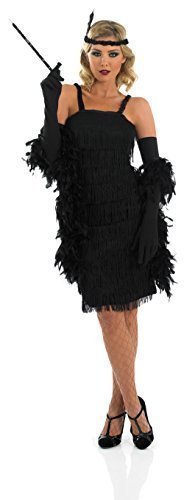 Damen Kostüm Schwarz 1920er 20er Jahre Gatsby Flapper Jahrzehnte Verkleidung Outfit Größe EU 36-58 Übergröße - Schwarz, 28-30