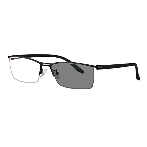 Übergang photochrome progressive multifokale Lesebrille Custom-Metallrahmen mit UV400-Sonnenbrille von 0 bis +300 in 25 Schritten