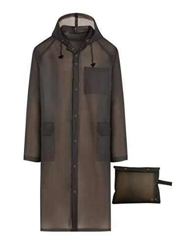 BlinQ Creations Men\'s Tragbare Regen Poncho Regen Jacke Regenmantel mit Kapuze mit Tunnelzug und Tasche One Size Fits All/Large Grey
