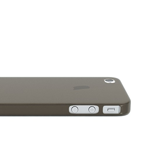 "EAZY CASE Handyhülle für Apple iPhone 4S, iPhone 4 Hülle - Premium Handy Schutzhülle Slimcover ""Clear"" - Transparentes Silikon Backcover in Klar / Durchsichtig Matt Schwarz / Anthrazit"
