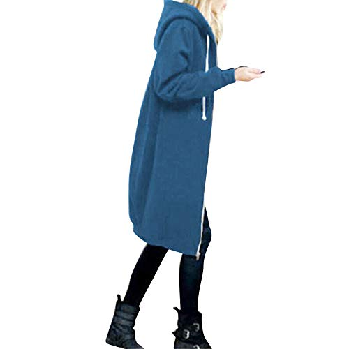 OverDose Damen Herbst Winter Outing Stil Frauen Warm Reißverschluss Öffnen Clubbing Dating Elegante Hoodies Sweatshirt Langen Mantel Jacke Tops Outwear Hoodie Outwear(Blau,EU-40/CN-L)