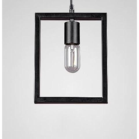 CAC Metallo Vintage Creative geometrica lampadario pendente illuminazione 20*25cm rettangolo