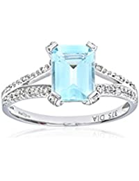 Revoni - 9ct White Gold Emerald Cut Aquamarine Ring With Diamond Shoulders