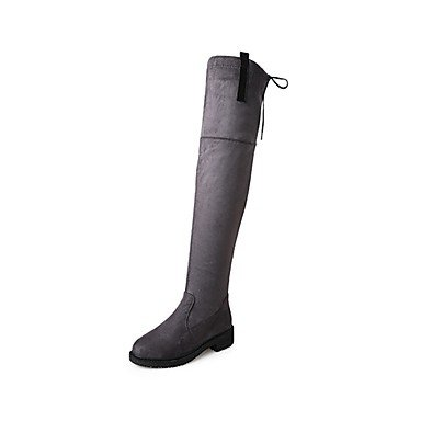 RTRY Scarpe Donna Cashmere Rientrano La Moda Stivali Stivali Tacco Chunky Round Toe Stivali Thigh-High Lace-Up Per Casual Verde Grigio Nero US6 / EU36 / UK4 / CN36