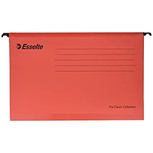 Esselte Classic Reinforced Suspension File, Foolscap, Pack of 25, Tabs Included, Red, 90336