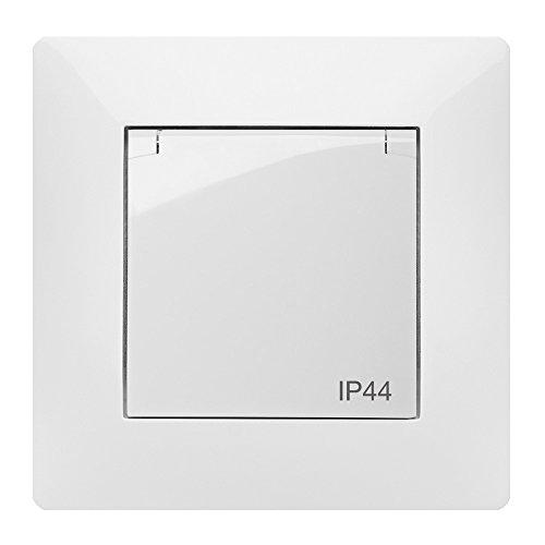 Steckdose Unterputz IP44 für Feuchtraum 250V mit Deckel weiß 2636-00 -