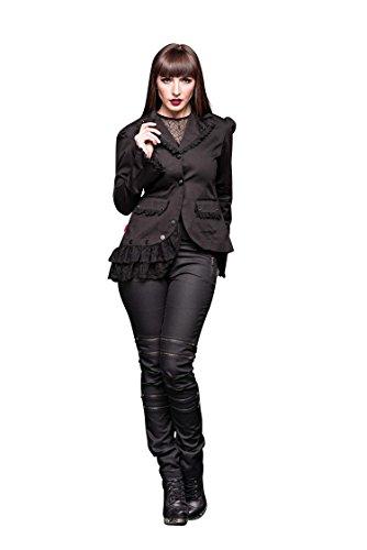 Queen of Darkness - Asymmetrische Jacke mit Spitze verziert (Rock Verziert Leinen)