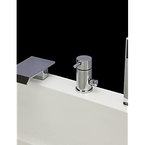 KISSRAIN® Vasca da bagno rubinetto - Contemporanea - Cascata / Handshower Incluso - Ottone (Chrome)