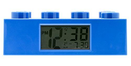Blauer LEGO 9002151 Stein-Wecker für Kinder mit Hintergrundbeleuchtung , blau , Kunststoff , 7 cm hoch , LCD-Display , Junge/ Mädchen , offiziell