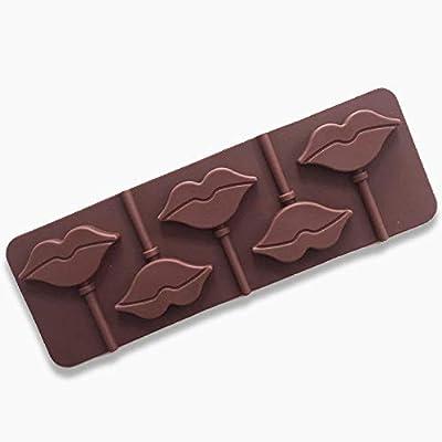 Hilai Lèvres Rouges Lollipops gâteau Moule Moule en Silicone pour ustensiles de Cuisson Bonbons Chocolat Moule 5 Cavity