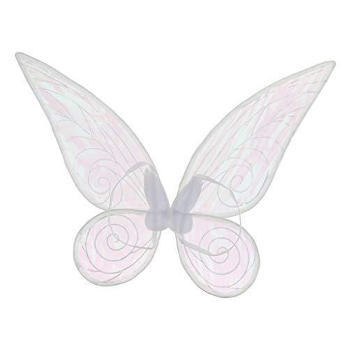 KESOTO Stoff Elfenflügel Feenflügel Schmetterlingflügel Engelflügel, geeigenet für Halloween Weihnachten Moonparty und Geburtstag - Weiß, 46cm * ()