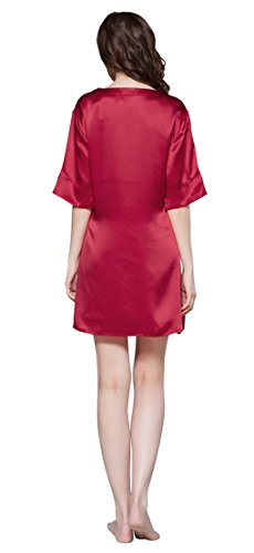 LILYSILK Women s Short Silk Nightdress V Neck Half Sleeve 22 Momme ... 793124694