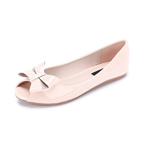 OCHENTA Damen Ballerinas mit Blume oder Schleife Gemustert Pink C-3