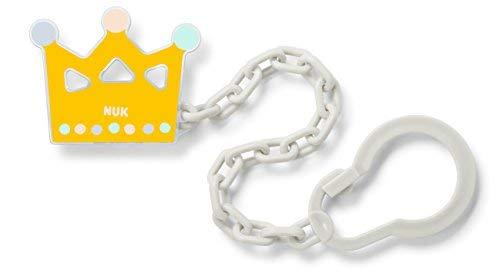 Nuk 10256447 Schnullerkette, mit Clip, für die sichere und praktische Befestigung des Schnullers an Babykleidung, BPA frei, 1 Stück, Krone, gelb