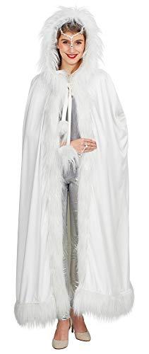 Andrea-Moden Schneekönigin Eisprinzessin Umhang 125cm - Weiß - Zauberhaftes Zubehör Wintermärchen Engel Christkind Kostüm Fasching Mottoparty Weihnachten (Weihnachten Mottoparty Kostüme)