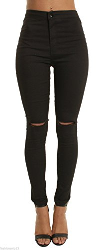 momokrom New Ladies High Waisted Super Skinny Stretchy Ankle Tube Jeans Jeggings UK Size 6-16 1