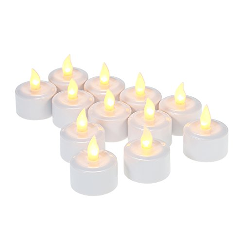 Decdeal - 12x Led Velas Eléctricas de Recargable Tealight con Base, Parpadeo Sin Llama, Luz Amarillo
