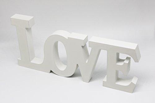 Aldagio Design Schriftzug LOVE - moderne Deko-Schrift in Weiß - Höhe x Breite 15 x 33 cm - gut als Geschenk-Idee geeignet (Glasvitrine Moderne)