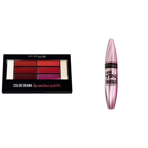 Maybelline Glossy Talk Make-up-Set, Bellas März-Look, Maybelline New York Lippenpalette + Lash Sensational Mascara Augen Make-up (1x2 Stück)