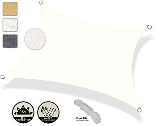 AXT SHADE Tenda a Vela Impermeabile Rettangolare 4 x 6m, Parasole e Protezione Raggi UV, per Esterni, Cortile, Giardino, Colore Crema