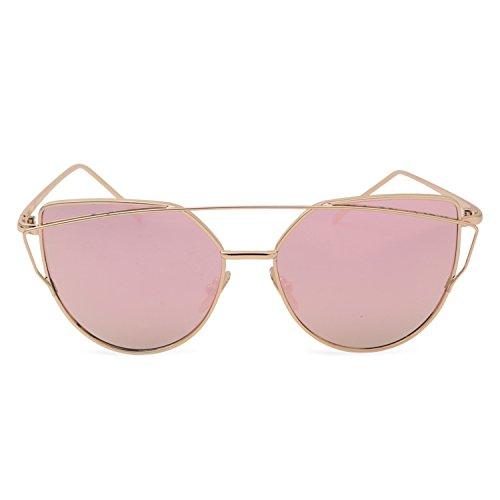 Sonnenbrille für Damen | Katzenaugen Rosegold Sonnenbrillen | Cat Eye Accessoire für Frauen | Reflektierende Spiegel Brille | Klassische Vintage Retro Look | Verspiegelte Katze Augen Sommer Mode (Womens Rose Vintage)