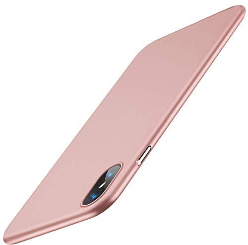 TORRAS Ultra Dünn iPhone X Hülle/iPhone XS Hülle mit Panzerglas [1 Hülle+1 Panzerglas] Slim Matte iPhone X Case/iPhone XS Case Anti-Scratch Anti-Fingerabdruck Handyhülle für iPhone X/Xs ( Rose Gold )