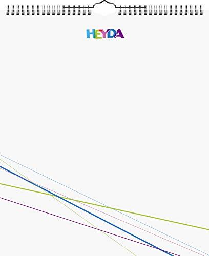 Heyda 2070481 Bastel-/Kreativkalender (13 Monatsblätter, 297 x 350 mm, Kalendarium immerwährend, Wire-O-Bindung mit Aufhänger, Deckblatt weiß, Monatsblätter) weiß
