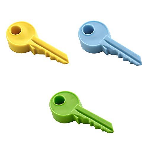 Ruiting Türstopper Silikon Schlüsselform nett Anti-Prise Rotary Türstopper für Baby Kinderzimmer Wohnzimmer Schlafzimmer 3 Stück(Blau&Gelb&Grün) -