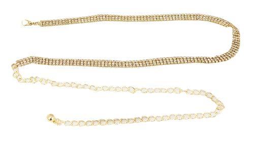Gürtelkette Strass Steine Diamanten Gold Silber GZ-2081 (Gold) ()