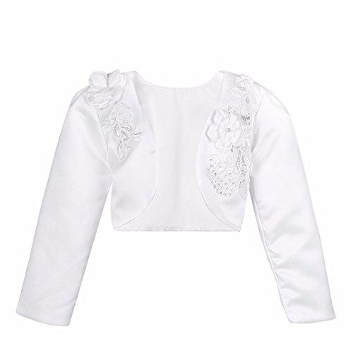 FEESHOW Mädchen Strickjacke Bolero Jacke Blumen Langarm Sweatshirt Schulterjacke und festlich Kommunionjacke Gr. 92-140 Weiß 134-140 / 9-10 Jahre