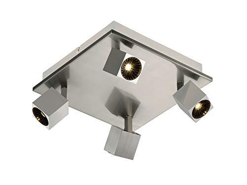 Spot LED carré à 4 ampoules en nickel mat avec éclairage indirect, spots LED orientables pour un design individuel.