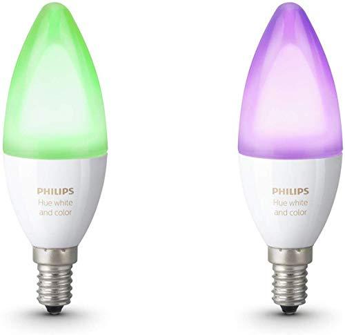 Philips Hue Pack de 2 ampoules connectées White & Color flamme E14 - Fonctionne avec Alexa