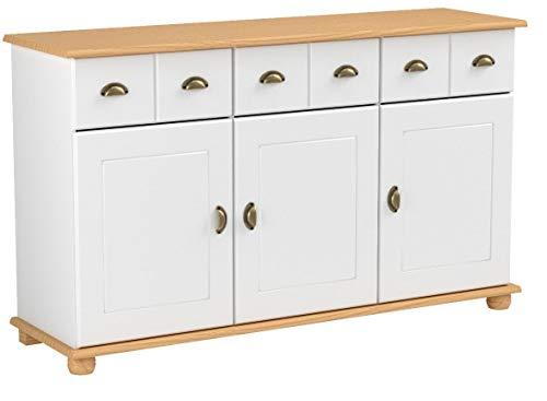 IDIMEX Apothekerkommode Kommode Anrichte Apothekenschrank Sideboard Colmar, Kiefer massiv, in weiß/braun