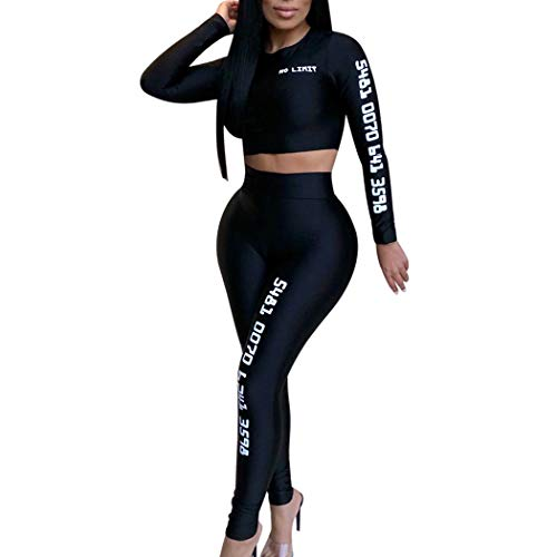 HANMAX Damen 2 Stück Set Outfit Sport Yoga Fitness Bodycon Slim Jogginganzug U-Ausschnitt Langarmhemd Jumpsuit Crop Top + Leggings
