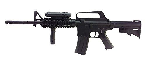 Airsoft Well M16A4 RIS a muella (spring) negra . Calibre 6mm. Potencia 0,5 Julios . Con accessorios …
