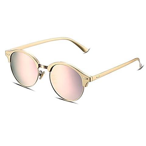 Hmilydyk Femme œil de chat surdimensionné Lunettes de soleil en métal Flash Miroir objectif moitié Jante Eyewear avec étui–UV400, Pink Frame with Gold Lens