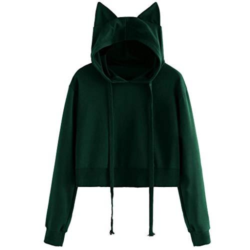 TOPKEAL Katze Lange Ärmel Hoodie Pullover Damen Herbst Winter Kapuzenpullover Sweatshirt Winterpullover Jacke Mantel Mode Tops (XX-Large,Armeegrün) -