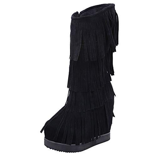 Dragon868 stivaletti di donna stivali tacchi alti 13cm velluto vintage scarpe zeppa interna con nappine particolare alti con cerniera cerimonia natale nero friday cyber monday